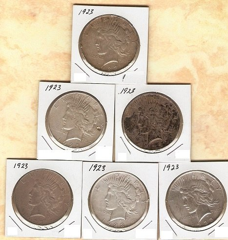 Lot of 6 1923 P Peace Silver Dollars