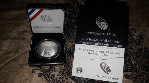 2014 Proof Baseball HOF Commemorative Dollar with OGP & COA