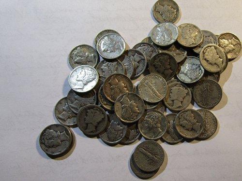 Rollof 50 SILVER MERCURY DIMES MIXED DATES  discounted