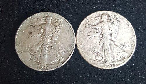 Lot of 2 1946 P Walking Liberty Half Dollars