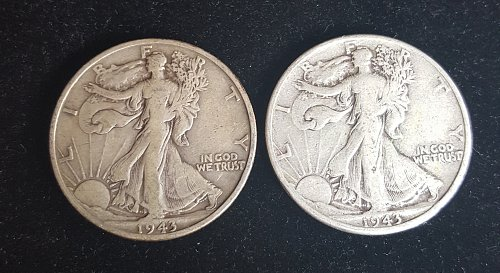 Lot of 2 Walking Liberty Half Dollars 1943 P and 1943 S