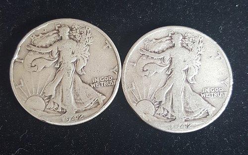 Lot of 2 1942 P Walking Liberty Half Dollars