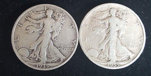 Lot of 2 1935 P Walking Liberty Half Dollars