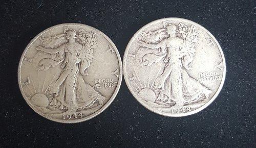 Lot of 2 Walking Liberty Half Dollars 1944 P and 1944 D