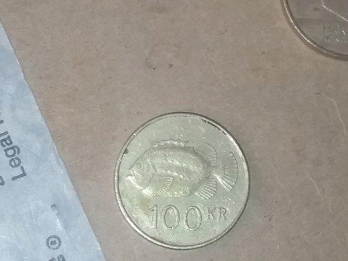 1995 100 Kronur inscription