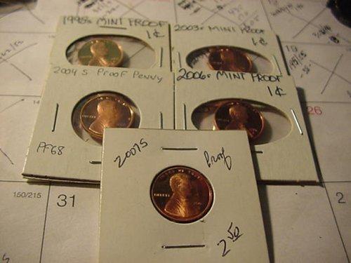 5-proof pennys 1998s,03s,04s,06s,07s