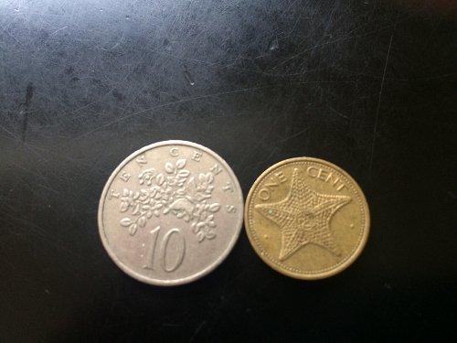 BAHAMAS 0NE CENT & JAMACA 10 CENT.