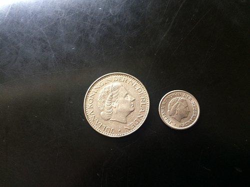 1950 10 CENT & 1969 1G NEDERLANDS COINS