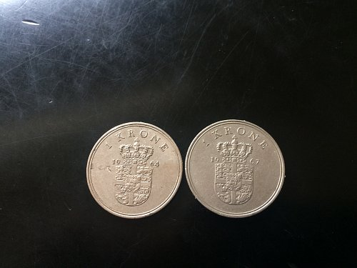 2 DENMARK 1 KRONE COINS