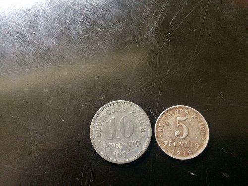 2 GERMAN PENNIG 1918 5 PENNIG AND 1918 10 PENNIG