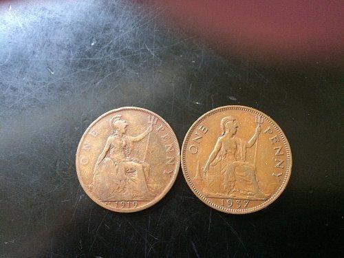 2 BRITISH LARGE PENNIES 1919 & 1937