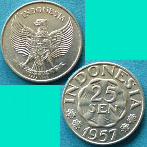Indonesia 25 Sen 1957 km 11