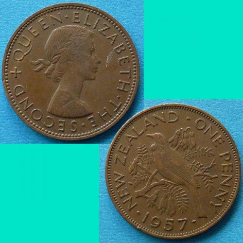 New Zealand 1 Penny 1957 QEII km 24.2