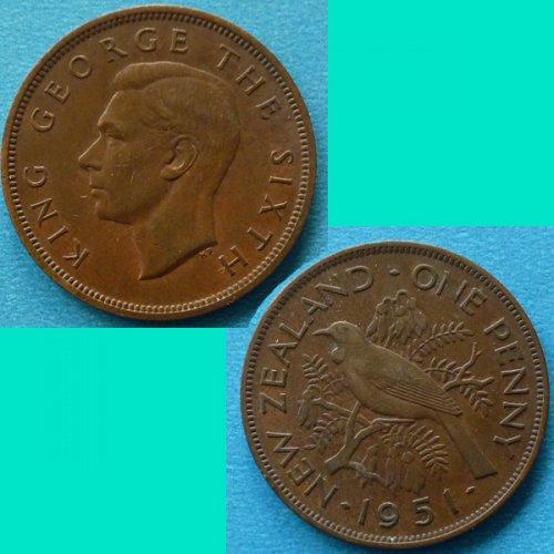 New Zealand 1 Penny 1951 KGVI km 13