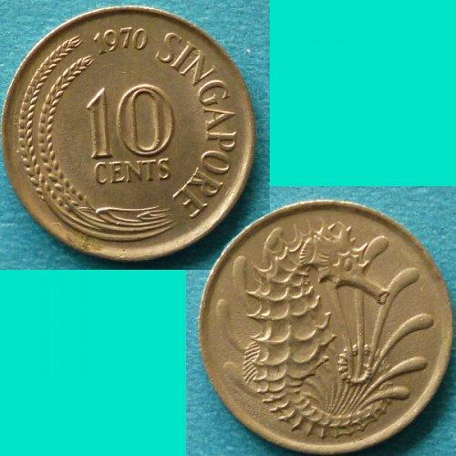 Singapore 10 Cents 1970 km 3