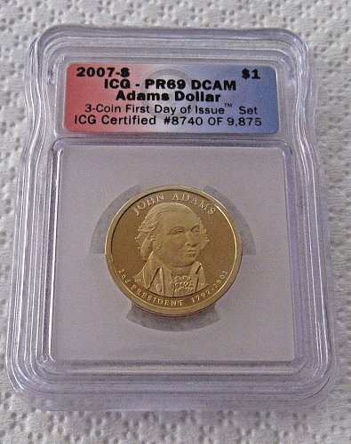 2007-S DC Proof John Adams Presidential Dollar - First Day of Issue