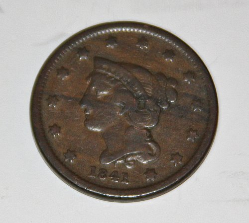 LARGE CENT 1841-P BRAIDED HAIR LIBERTY HEAD PENNY....