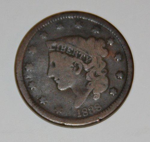 1838-P CORONET LIBERTY HEAD LARGE CENT...