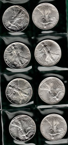 1994 (4) & 1995 (4) American Silver Eagle. In plastic holder   /  DR53