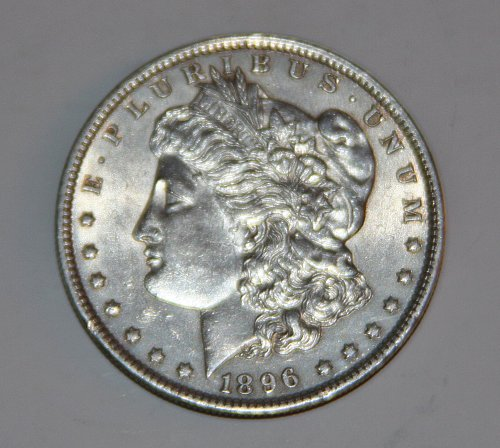 1896 SILVER MORGAN DOLLAR.....AU....NICE COIN...
