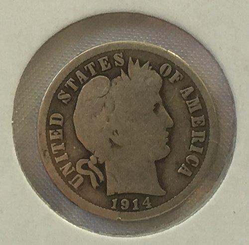 1914 P Barber Dime