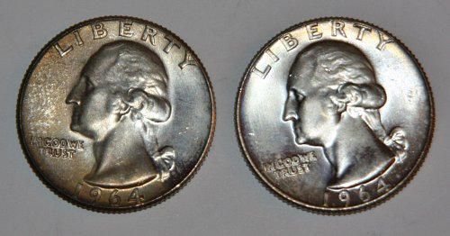2 COLLECTIBLE SILVER 1964-D WASHINGTON QUARTERS.......
