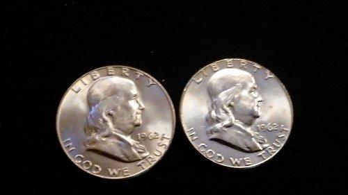 1962-p&d silver half dollars