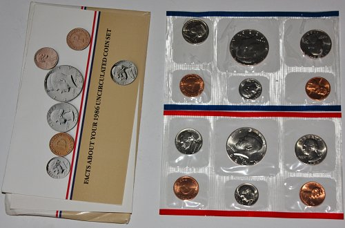 COLLECTIBLE 1986 P&D UN-CIRCULATED MINT COIN SET 1986-P...1986-D COINS.....