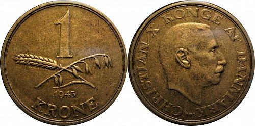 Denmark 1943 1 Krone   Key Date   #0043