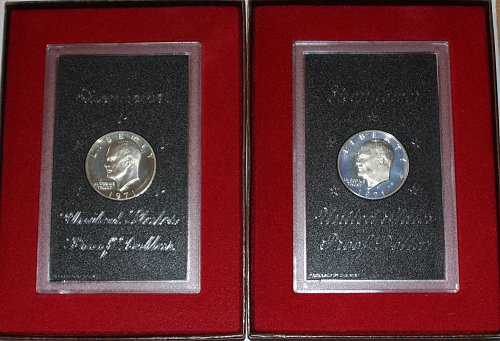 2 1971-S COMMEMORATIVE EISENHOWER PROOF DOLLARS IN ORIGINAL BROWN BOXES.......