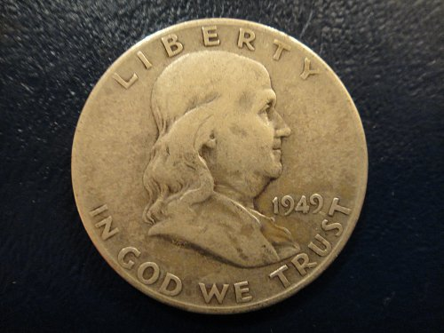 1949-S Franklin Half Dollar Fine-12 Nice Problem Free Example of This KEY DATE .