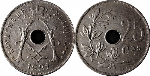 Belgium 1921 25 Centimes French Text
