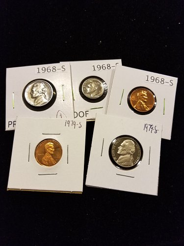 5 Random Proof Coins 1968 Dime, Nickel, Cent and 1979 Cent, Nickel