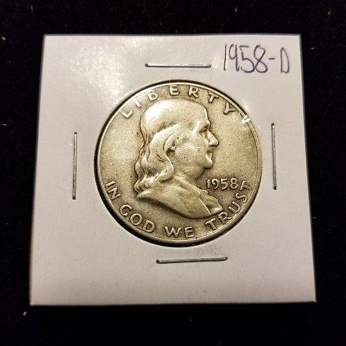1958 D Silver Franklin Half Dollar