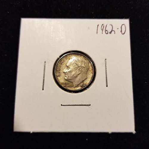 1962 D Silver Roosevelt Dime Toned