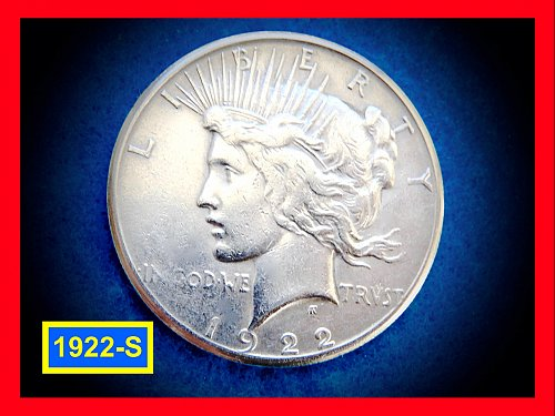"1922-S  PEACE Dollar — ""VF"" Condition –  (#5288)"