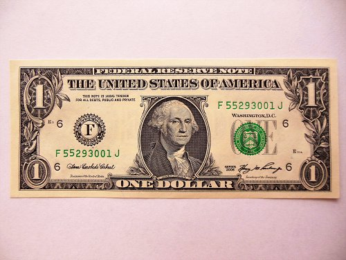 2006 $1 Crisp Gem UNC. 66 Raised Digit (5) Error Note on Lower Serial Number