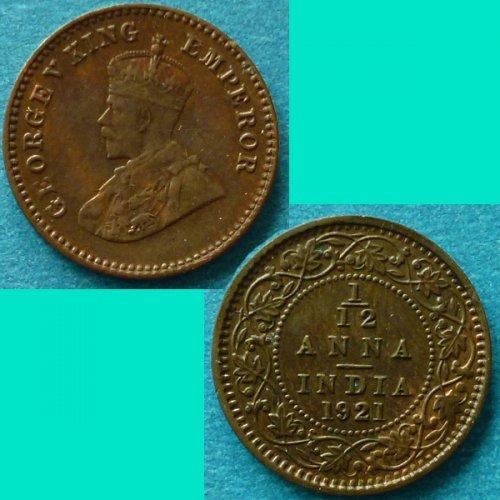 British India 1/12 Anna 1921 c  km 509