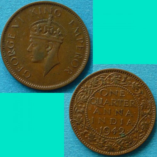 British India 1/4 Quarter Anna 1942 b  km 531
