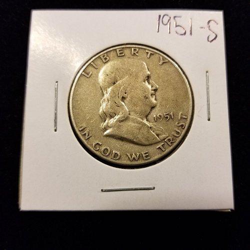 1951 S Silver Franklin Half Dollar