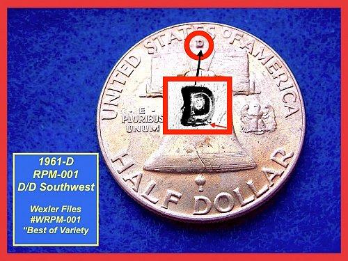 """1961-D/D (RPM-001) Franklin Half ☆ """"MS60 UNC"""" ☆ (#1580)a"""