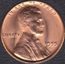 1955 S Lincoln Wheat Cent