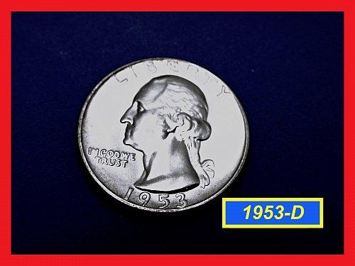 1953-D/D RPM • Washington Quarter •UNCIRCULATED ☆   (#2714)a