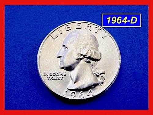 """1964-D   Washington Quarter  ✬  GEM """"BU""""  ✬(#2741)a"""