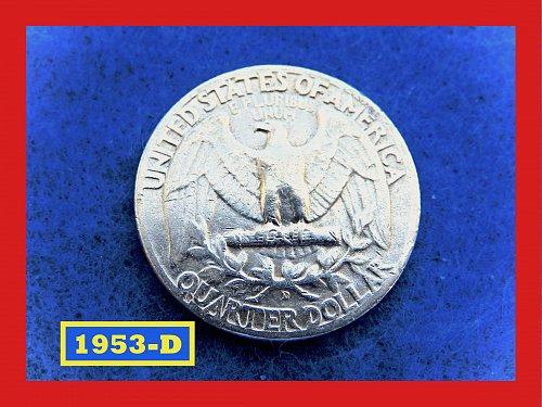 1953-D ☆ Washington Quarter ☆ CIRCULATED ☆   (#2642)a