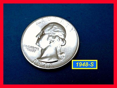 """1948-S Gem  """"Brilliant Uncirculated""""  Quarter    (#2719)a"""
