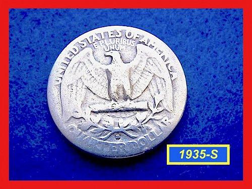 """1935-S   Washington Quarter – """"VG-08"""" Circulated  - (#2567)a"""
