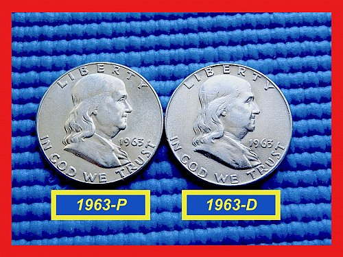 """TWO COIN Year-Set  ✬ 1963-P & 1963-D  ✮  """"VF-XF"""" ✮  (#1811)a"""