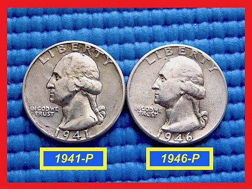 2 COIN LOT ✬ 1941 & 1946 Quarters ✬ Circulated ✬ (#2780)a