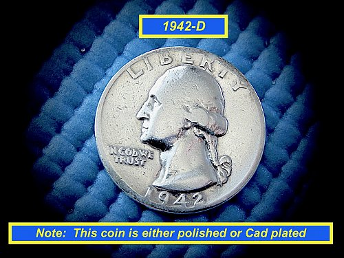 1942-D Quarter  ★  Plated or Polished Circulated  ★  (#2787)a